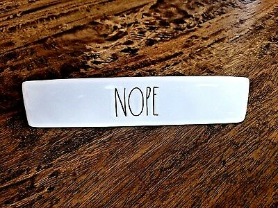 rae dunn nope name plate desk plaque sign paper weight large letter