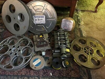 Huge Lot Of Vintage 35mm Film Supplies Reels Splicer Sync Counter Trailers