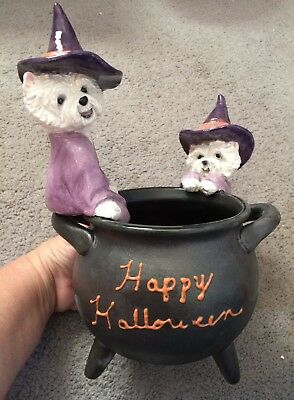 Halloween Westie witches cauldron candy dish sculpture art painting handmade