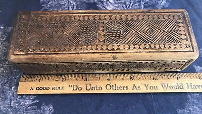 Hand Carved Sailor's Small Ditty Box dated 1850, Fine Antique