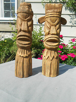 Vintage Tiki Salt and Pepper Shakers Unmarked 1950's
