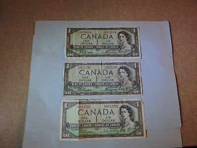 Three 1954 Canadian Bills 1 Dollar Prefix JL, KL, SY Circulated Bank Notes