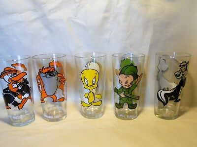 VTG 1973 Pepsi Warner Bros. Looney Tunes Tumbler Glasses x5