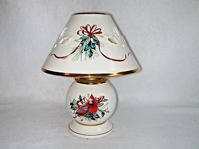 Lenox China Winter Greetings Candle Lamp w/ Votive Candle No Box Exc Cond