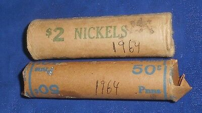 Two 1964 rolls of Canada one and five cent pieces