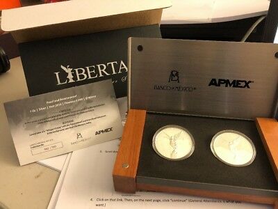 2018 Mexico 2-Coin Silver Libertad Proof/Reverse Proof Set RARE 42/500 Sets
