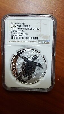 2015 Niue 1oz Silver Hawksbill Turtle NGC Brilliant Uncirculated - Brown Label