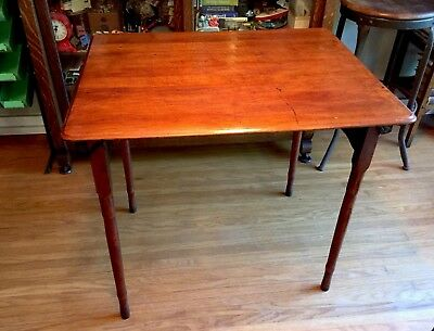 """Antique Wood Folding Sewing Craft Art Table W/Wrought Iron Hardware 30""""x24""""x27"""""""
