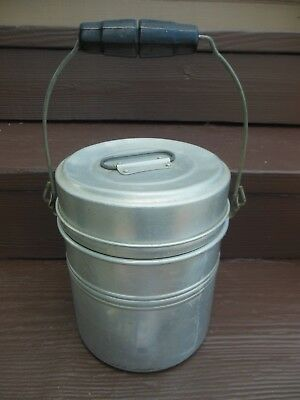 Vintage Aluminum WOOD HANDLED TWO TIER MINERS LUNCH BUCKET BOX