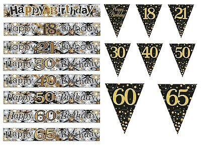 Birthday Banners Gold / Black / Silver  Ages 18 21 30 40 50 60 65 Party (Se)