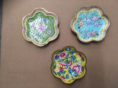 Small Scalloped Floral Enamel Trays From China - Set Of 3
