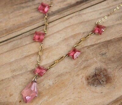 Vintage Necklace 9ct Gold Pink Paste Stones Jewellery Antique Art Deco 20s 30s