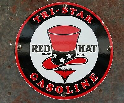 Tri Star Red Hat Gas Oil Co. vintage thick heavy steel porcelain pump plate sign