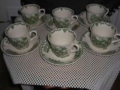 6 X Masons Green Fruit Basket Coffee Cups And Saucers