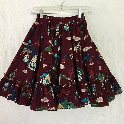 Hand Made Square Dance Skirt American Indian Motif