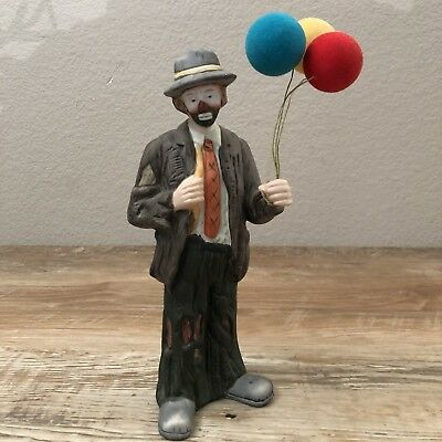 Flambro Emmett Kelly Jr Collection - Porcelain Sad Hobo Clown With Balloons