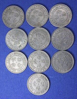 10 Hong Kong Fifty Cent coins.....all are 1951....nice & original