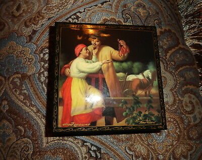 Russian Lacquer Jewelry/Trinket Box Fedoskino/Gift Painted/Hand Maid/faberg