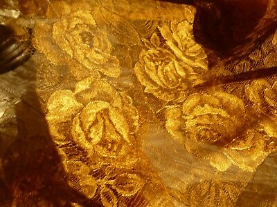 """144"""" x 15"""" Antique Handmade Finest Quality Gold Lace Circles of Roses Silk (?)"""