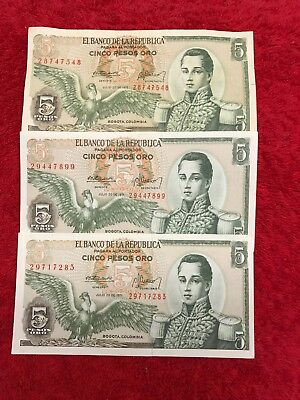 3 1971 5 Peso Colombia banknotes UNC MINT