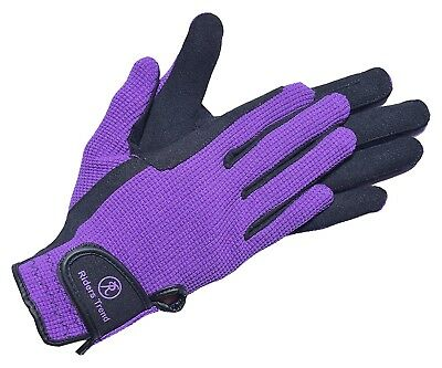 (Small, Black/Purple) - Riders Trend Amara/Cotton Horse Equestrian Riding Gloves