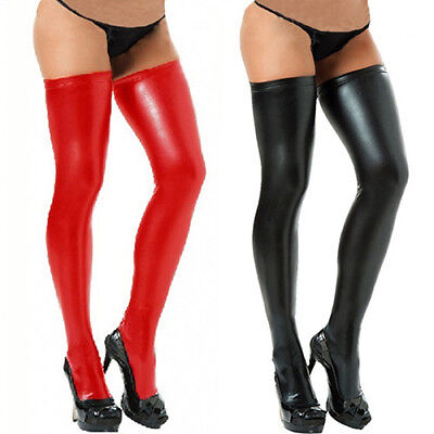KD_ Women Glam Rock Gothic Thigh High Latex Catsuit Stockings Thongs G-String St