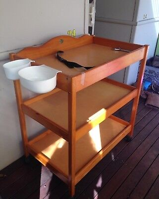 Timber baby change table second hand, great condition, solid, Swallow brand