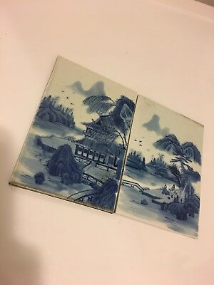 Pair Of Chinese Blue And White Tile Plaques