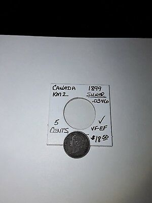 Canadian Silver 5 Cent Coin. 1899