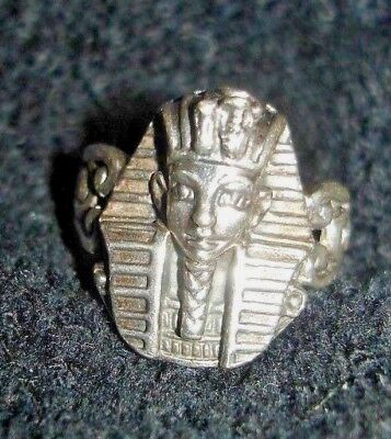 BOY KING TUT RING! EGYPTIAN VINTAGE 925 Sterling Silver Egyptian Pharaoh