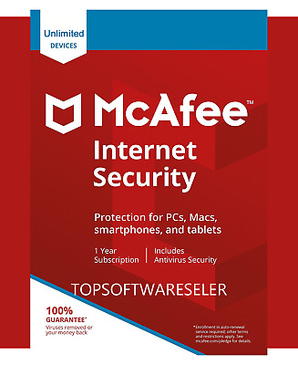 McAfee Internet Security 2019 Unlimited 10 MULTIDEVICE 1Year Antivirus NOT 2018