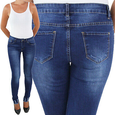 Damen Jeans Hose Hüftjeans Hüfthose Röhre Skinny Slim Fit Stretch Low No 15849