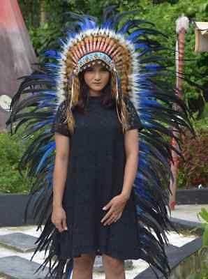Blue Large Costume Indian Headdress Chief Feather Headband Warbonnet Handmade