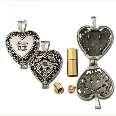 Always in My Heart Locket Pendant Chain Necklace Ash Urn  Cremation Jewelry ZZ16