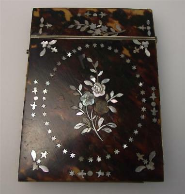 Antique Victorian Faux Tortoiseshell & Mother-Of-Pearl Card Case, 19th Century