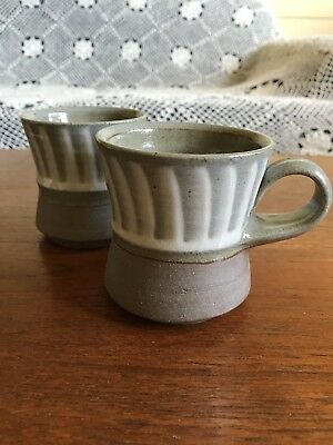 Pair of Vintage Andrew Halford Australian Studio Pottery Coffee Mugs