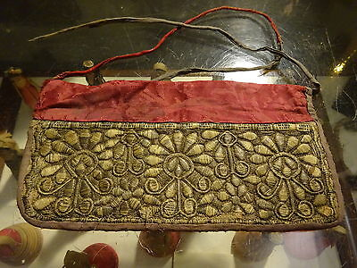 Antique Central Asia Silk Gold Thread Embroidery Textile Costume Head Cloth?