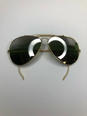 B&L Ray Ban USA 1/10 12KGF Gold 52mm Aviator Vintage Mirror GreenLens Sunglasses