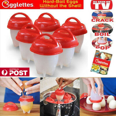 2018 New Egglettes Egg Cooker Hard Boiled Eggs without the Shell 6 Egg Cups AU