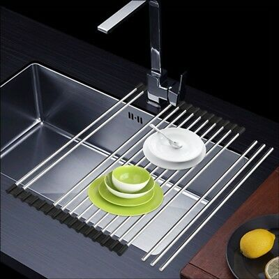 Over The Sink Dish Roll Up Drying Rack Drainer Stainless Steel Kitchen  Shelf Mat