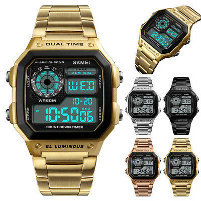Men Digital Quartz Wrist Watch Sport Army Waterproof LED Gold Stainless Steel SM