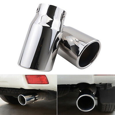 2X 75mm Chrome Stainless Steel Car Tail Exhaust Pipe Tip End Trim Racing Muffler