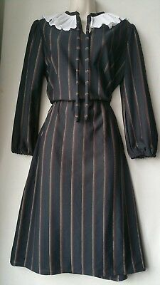 Ladies Vintage Dress black stripe white frill neck 12 French tea 70's midi