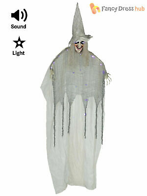160cm Talking Witch Hanging Decoration Animated Halloween Party Prop Light Up