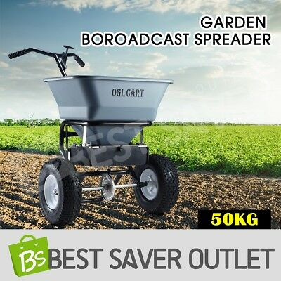 OGL 50kg Grey Garden Broadcast Spreader Lawn Seed Fertilizer Farm Seeder