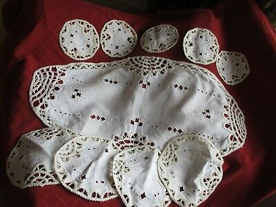antique embroidered/crochet table linen placemats