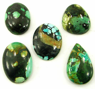 70.65 Ct Natural Tibet Turquoise Loose Cab Gemstone Wholesale Lot 5 Pcs - 20057
