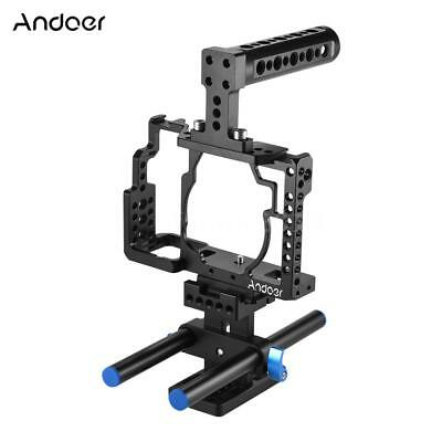 Andoer Aluminum Alloy Camera Cage + Top Handle + 15mm Rod Baseplate Kit L4P3