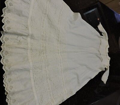"""ANTIQUE 1800'S Panel lace Cotton Christening Gown or Baby Doll Dress 37.5"""" Long"""