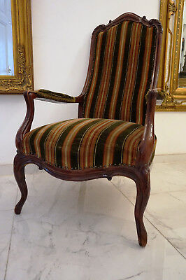 Antik Alter Chippendale Sitzgarnitur Samt Sessel Chair English Couch Rare